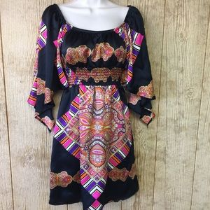 Voom Joy Han Silk Dress Paisley Boho Bell Sleeves